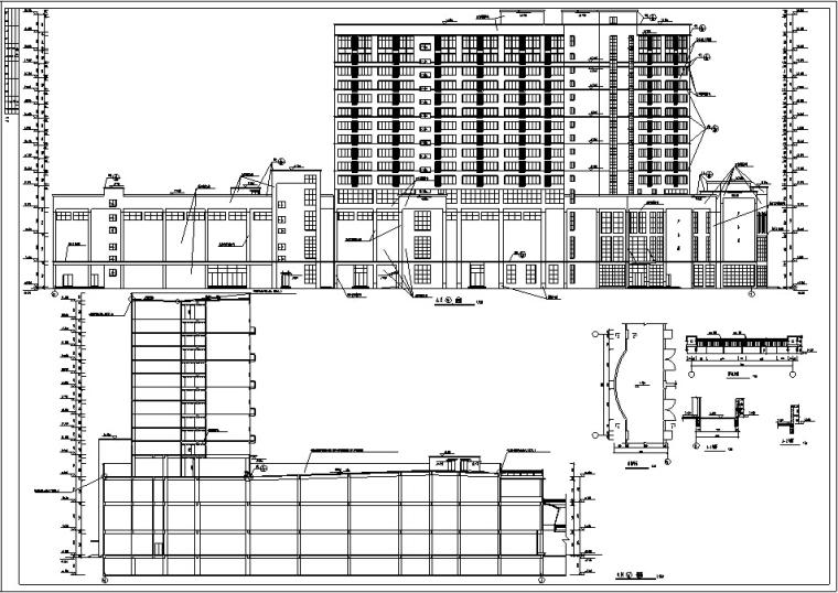 3套商住综合楼建筑设计施工图CAD-黄金海岸商住综合楼立面图