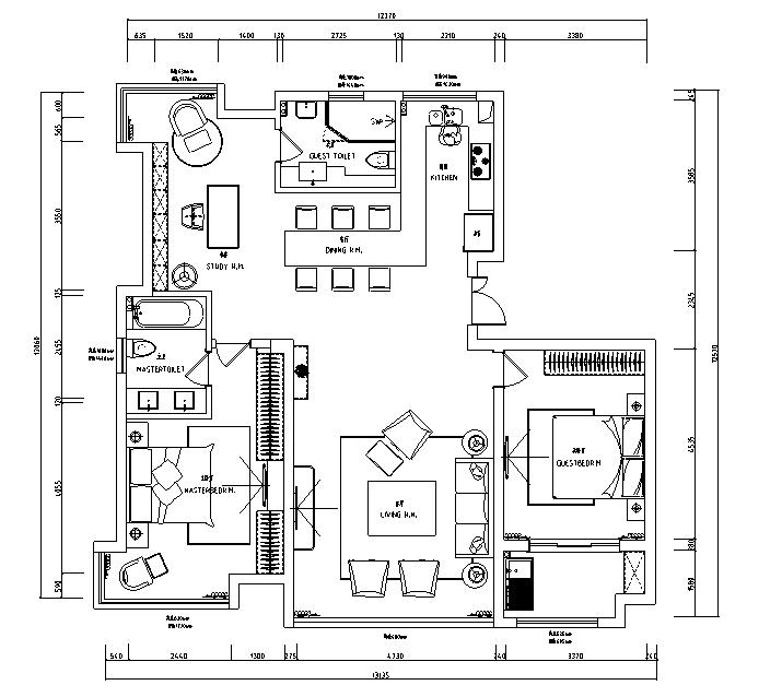 【江苏】简洁黑白灰空间样板房设计施工图(附效果图)_3