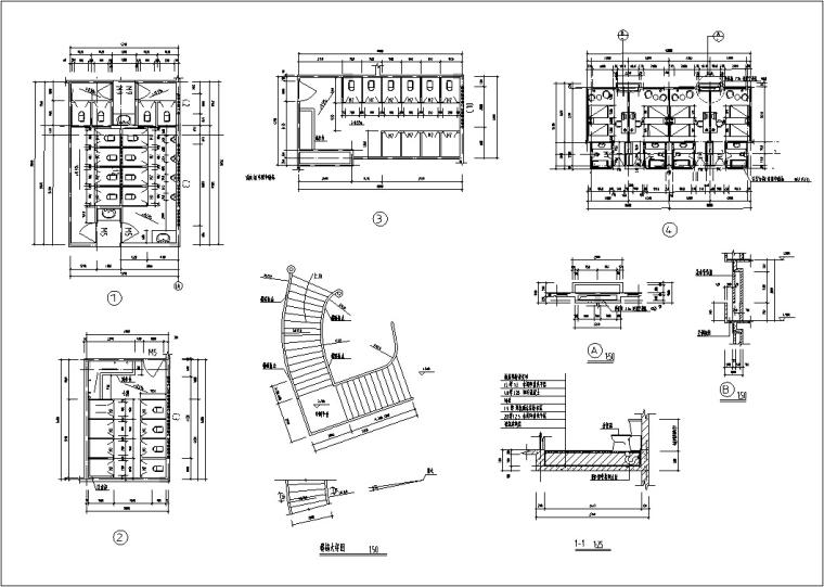 5套现代多层宾馆酒店建筑设计施工图CAD-豪泉多层酒店建筑设计节点平面图