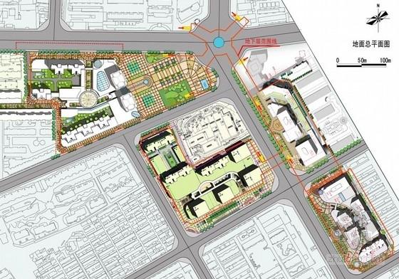 [内蒙古]地下空间商业建筑概念设计方案文本-地下空间商业建筑总平面图