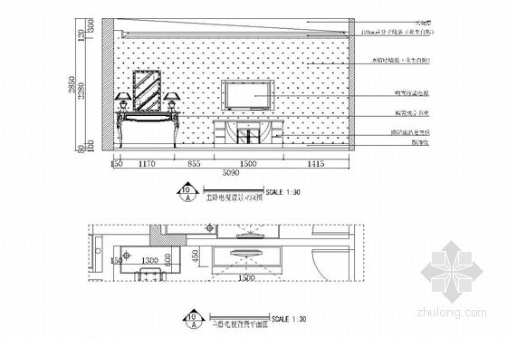 双卧朝阳南北通透欧式风格两居室装修图(含效果图) 主卧立面图