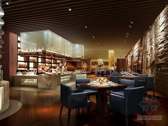 [四川]2.79亿夺标大厦改建四星级高档奢华酒店装修施工图(含方案)餐厅效果图