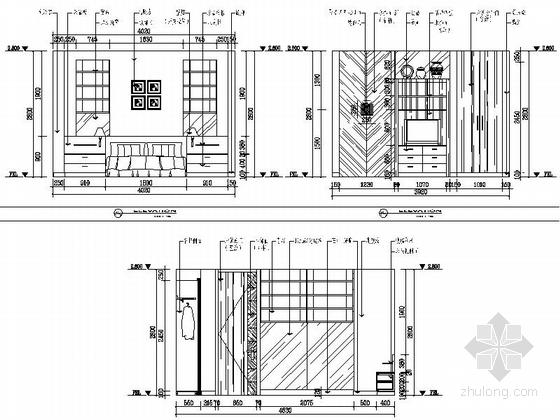 [苏州]水岸社区典雅新中式三层别墅装修施工图客卧立面图