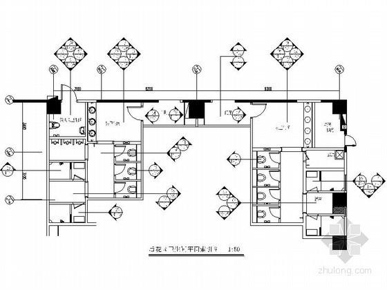 豪华酒店屋顶花园卫生间施工图