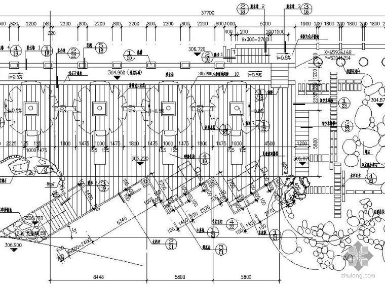 水景墙及木平台节点详图