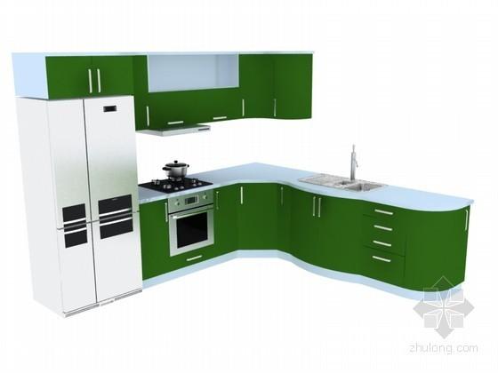 清新橱柜3D模型下载