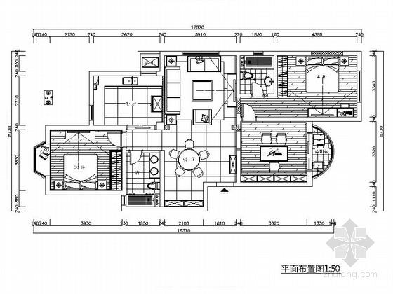 [上海]毗邻知名学府现代风格复式样板间装修施工图