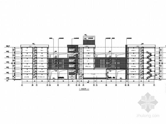 [湖南]六层框架结构教育综合楼结构施工图(北中南三栋含建筑)