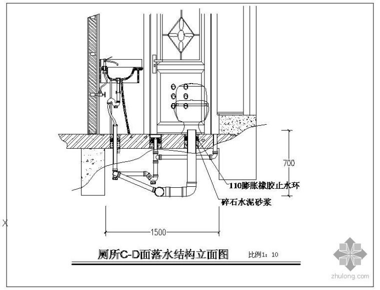 某大厅形象墙(立体)、吊顶龙骨结构(立体)、厕所立面(给排)、石材电梯门套(立体)结构节点构造详图