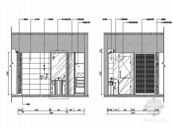 [广东]名师设计高档四星级国际酒店装修图按摩房立面图