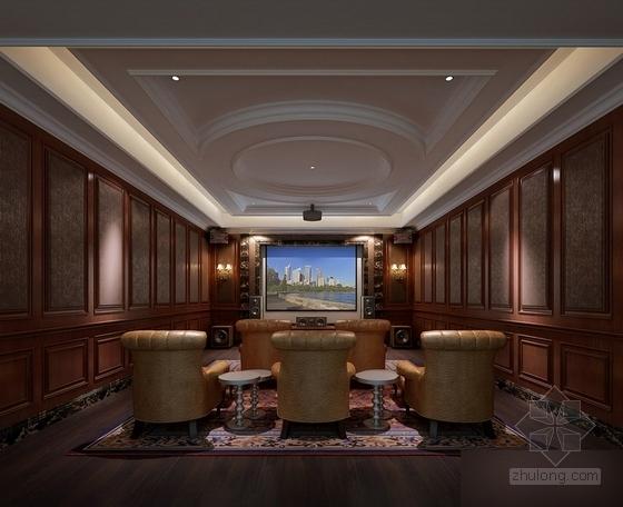 [常州]古典欧式三层别墅样板房装修图(含效果)影音室效果图