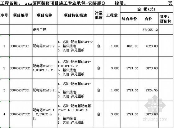 [广东]2015年科技园厂房楼装修工程预算书(附施工图纸)-分部分项工程和单价措施项目清单与计价表(安装)