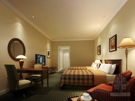 [苏州]社区型中心高档酒店客房装修施工图(含效果)酒店客房效果图