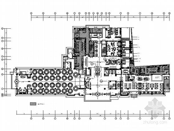 [山东]原创典雅中式五星级酒店大堂吧装修施工图(含效果)