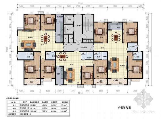 高层住宅一梯三户型平面图(115、155、177平方米)
