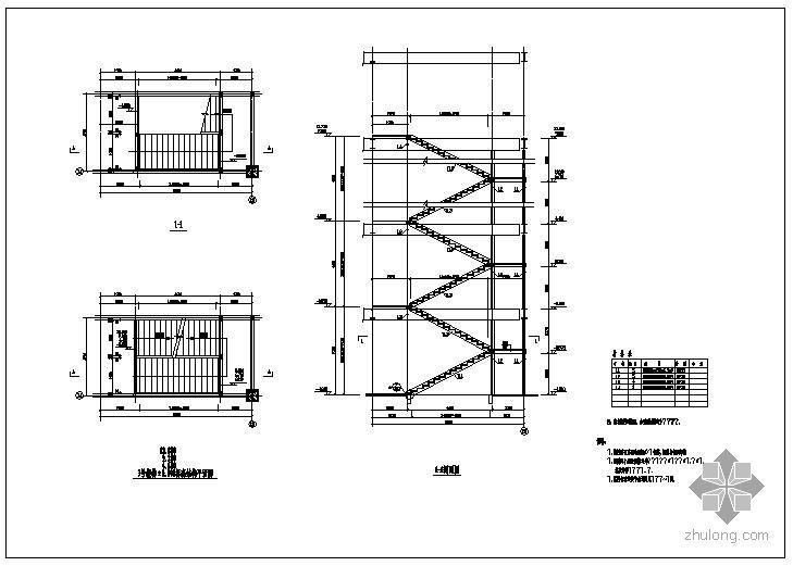 某钢结构两跑楼梯节点构造详图