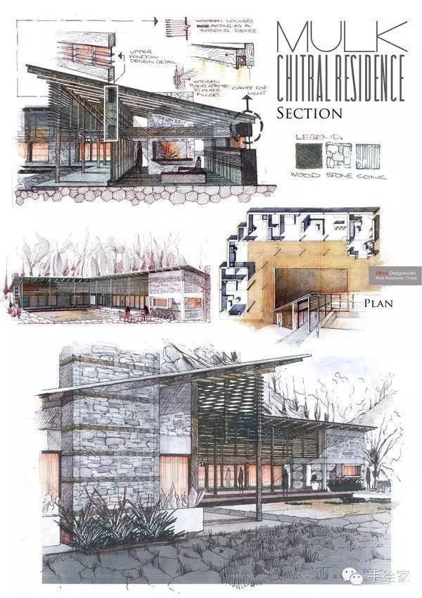 百年经典建筑设计手绘图_57