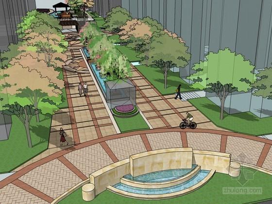 小区景观SketchUp模型下载