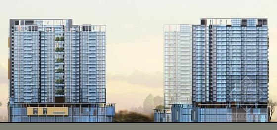 [广东]高层现代风格购物中心及住宅建筑设计方案文本-高层现代风格购物中心及住宅建筑立面图