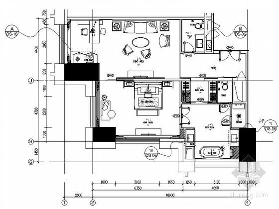 [中山]知名连锁商务酒店现代客房装修施工图