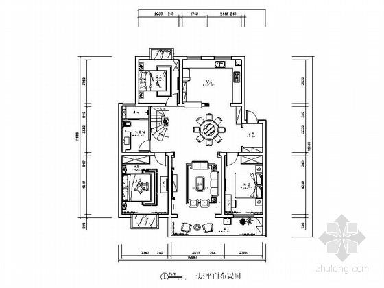 [北京]精品豪华欧式三层复式别墅室内装修施工图
