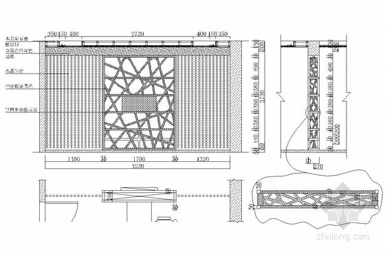 典雅中式二层别墅室内装修施工图(含效果图)书房立面图