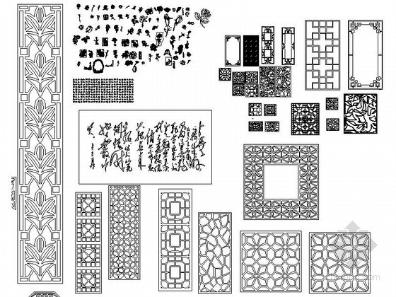 u型楼梯cad图块资料下载-时尚木雕花CAD图块下载