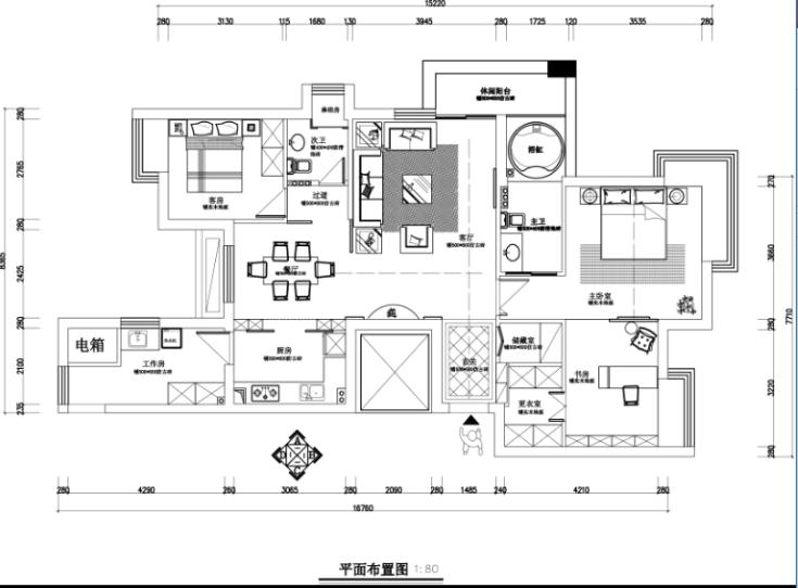 银都花园2幢1单元家装设计完整施工图及效果图