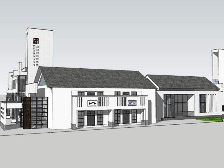 新中式风格商业街2层建筑设计(su模型)