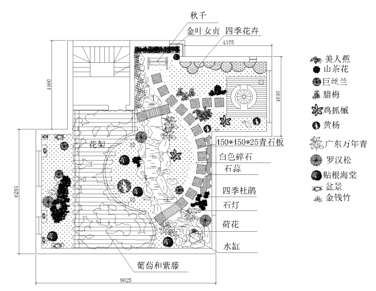 21套屋顶花园CAD施工图(19)