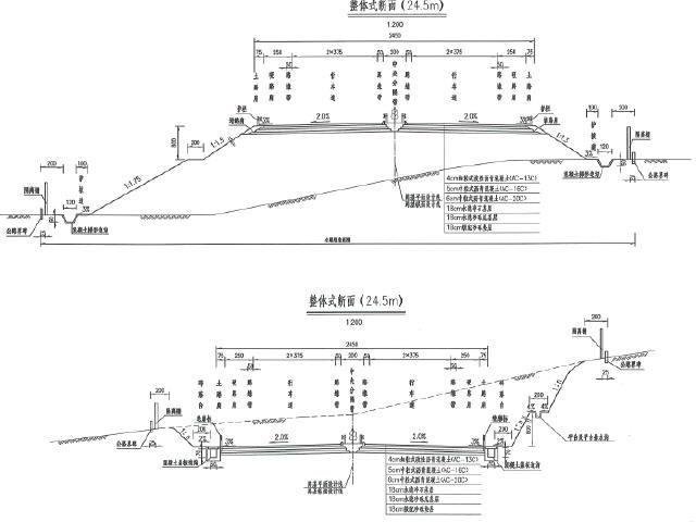 国道四车道高速公路路基路面设计图376页(防护,排水)