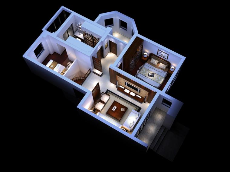 现代中式居室3D模型下载