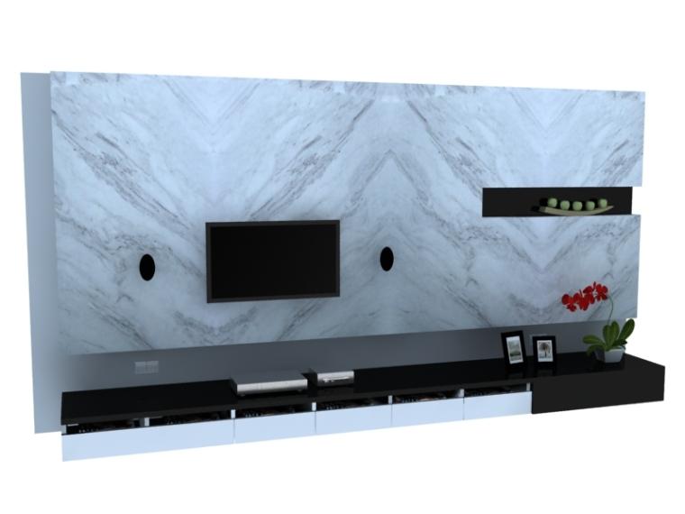 石材电视墙3D模型下载