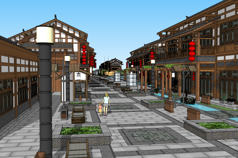 川东风格中式商业街建筑SU模型