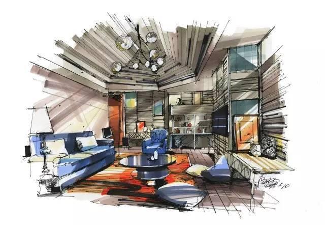 室内手绘 室内设计手绘马克笔上色快题分析图解_7
