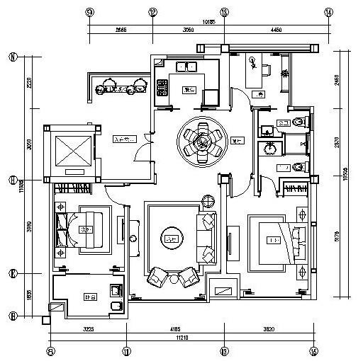 欧式风格香堤华府样板间施工图设计(附效果图)
