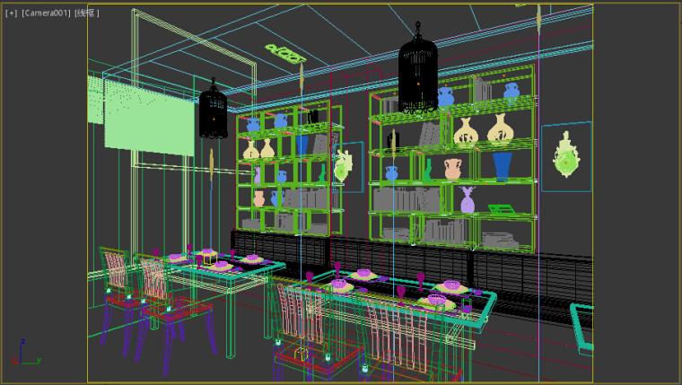 书吧类复古餐厅成套3D模型下载