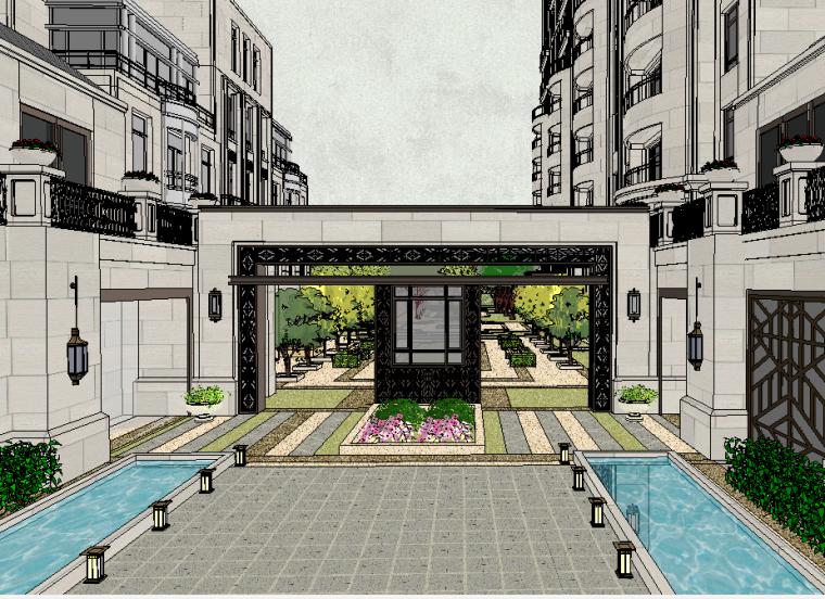 新中式风格小区景观模型设计