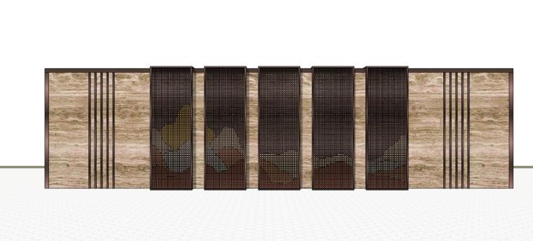 新中式新亚洲现代山水景墙su模型
