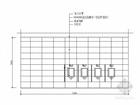 [安徽]时尚售楼处室内设计装饰CAD施工图(含效果)男卫生间立面图