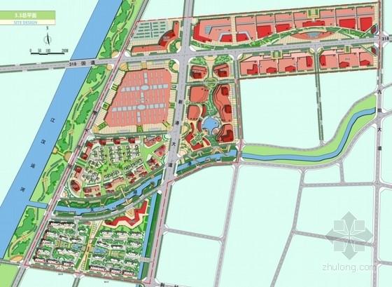 滨河现代风格城市综合体总平面图