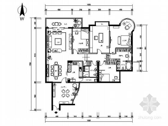 [广东]简欧风格四室两厅样板间室内装修施工图(含效果)