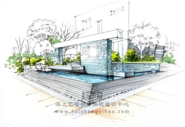 景墙的画法步骤图解析:庭院中间有道墙_10
