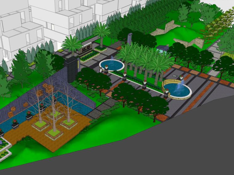 现代居住区入口景观模型