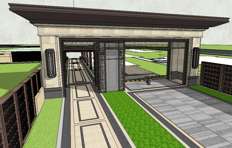 铂悦秦淮小区入口大门模型设计(新中式风格)