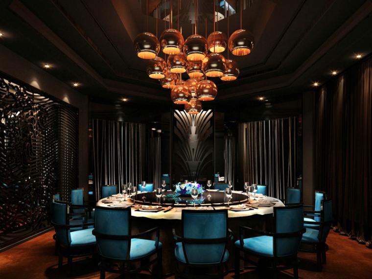 VIP大包厢3d模型资料下载-欧式餐厅包厢3D模型下载