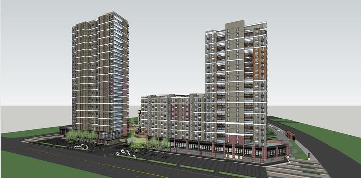 万科璞悦湾高层住宅楼项目方案sketchup模型