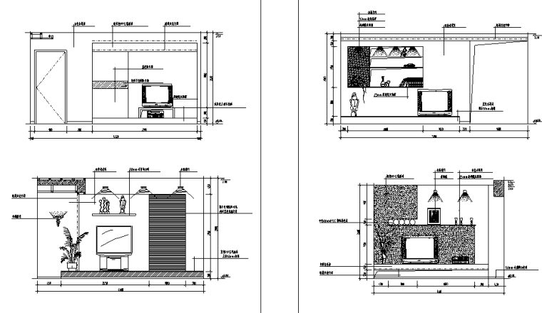 客厅经典分空间CAD立面图库
