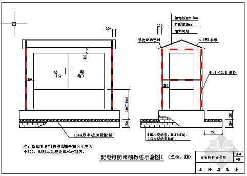 总、分配电箱防雨棚做法示意图Ⅰ(青岛某公司-05)