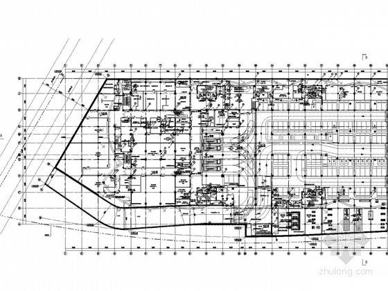 [湖北]全球首座室内电影乐园强电施工图纸(国内外顶级设计院审图意见)-地下二层防火分区平面图(截取)
